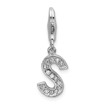 Sterling Silver Rhodium-plated w/ Lobster Clasp Letter S Initial CZ Charm