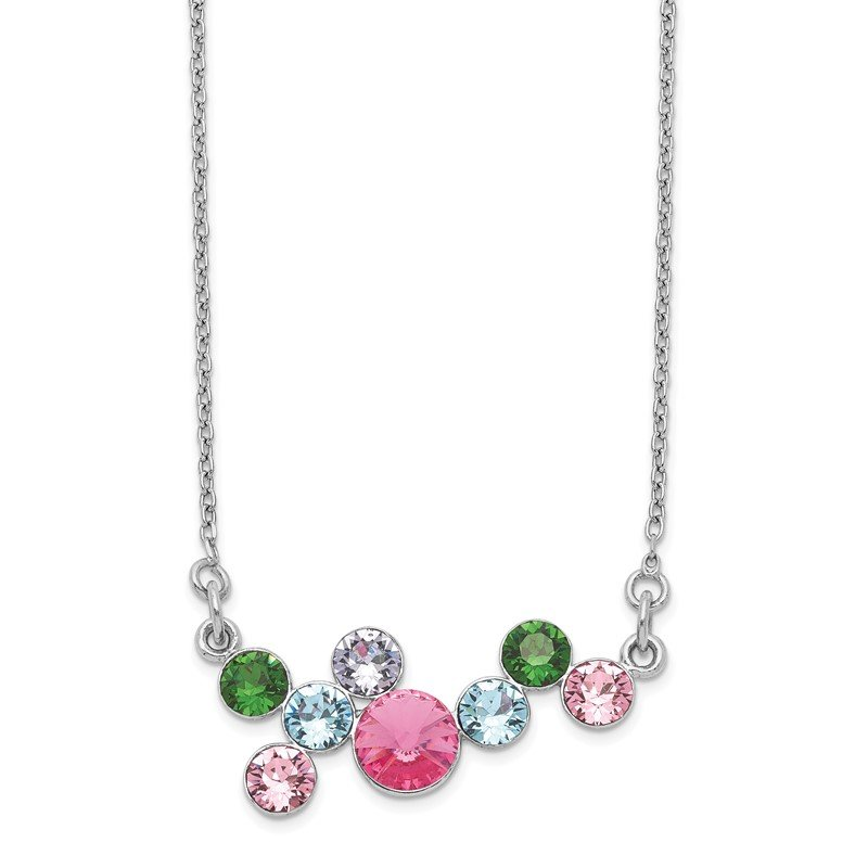 Quality Gold Sterling Silver Rhodium-plated Multi-color Crystal w/2in ext Necklace
