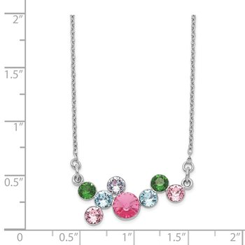 Sterling Silver Rhodium-plated Multi-color Crystal w/2in ext Necklace