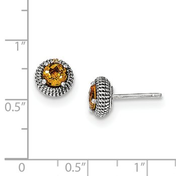 Sterling Silver w/14k Citrine Post Earrings