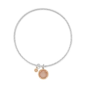 Moon Rose Cabochon Charm Bangle