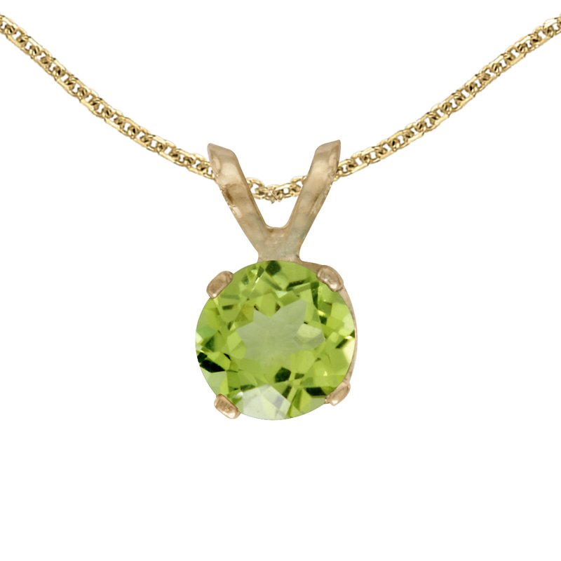 Color Merchants 14k Yellow Gold Round Peridot Pendant