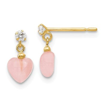 14k Madi K CZ and Pink Cat's Eye Heart Dangle Post Earrings