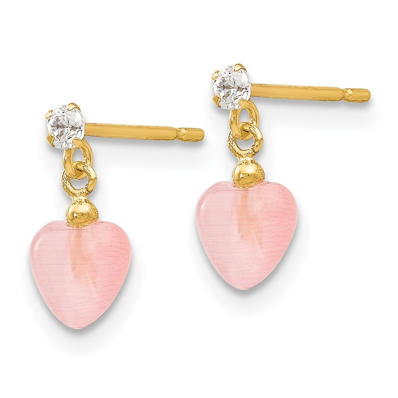 Quality Gold 14k Madi K CZ and Pink Cat's Eye Heart Dangle Post Earrings