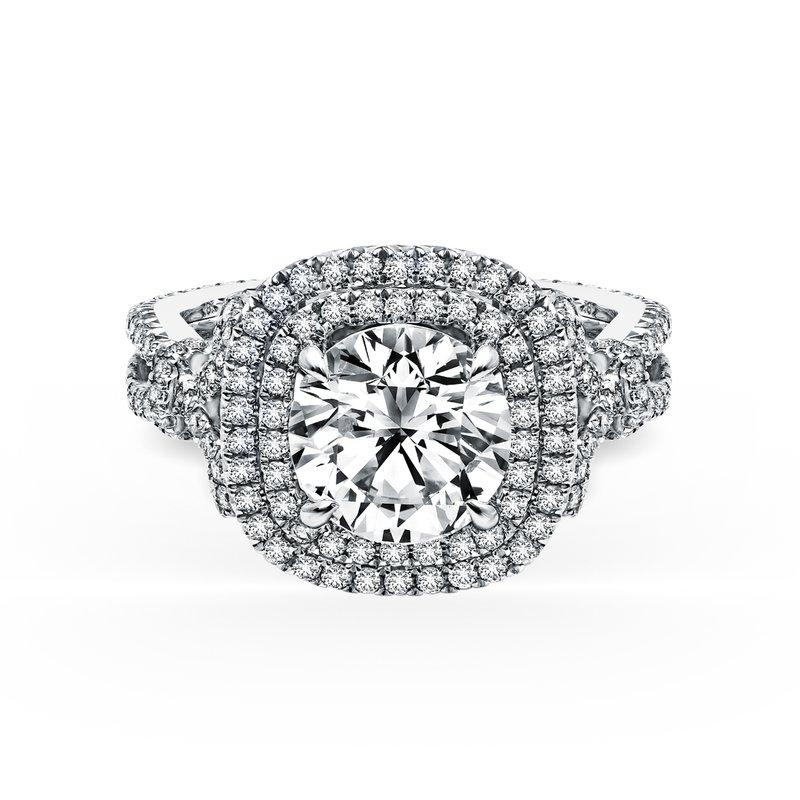 Award Winning Double Halo Diamond Engagement Ring Kirk Kara