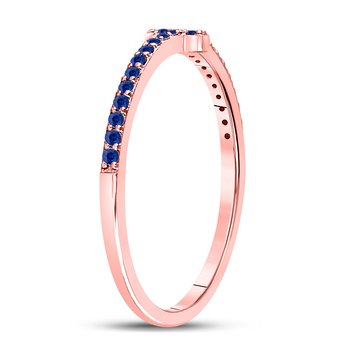 10kt Rose Gold Womens Round Blue Sapphire Cross Stackable Band Ring 1/6 Cttw