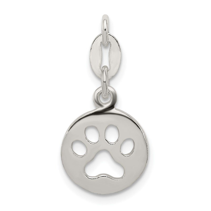 Quality Gold Sterling Silver Round Paw Print Pendant