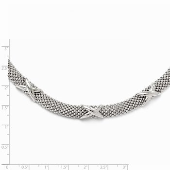 Leslie's Sterling Silver Polished Mesh Necklace