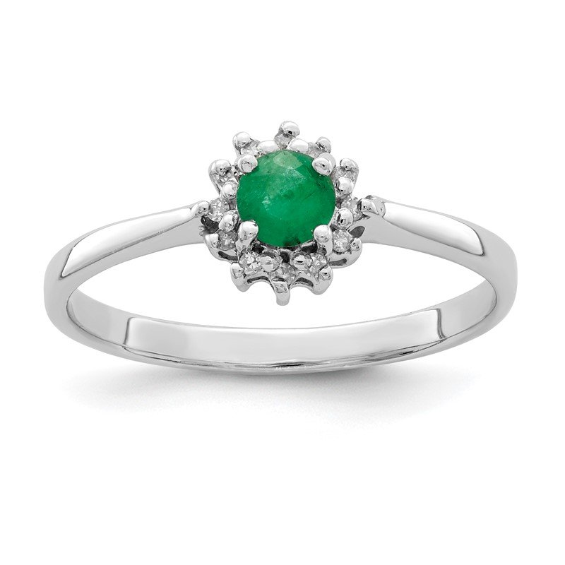 Quality Gold Sterling Silver Rhodium-plated Round Emerald & Diamond Ring
