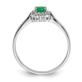 Sterling Silver Rhodium-plated Round Emerald & Diamond Ring