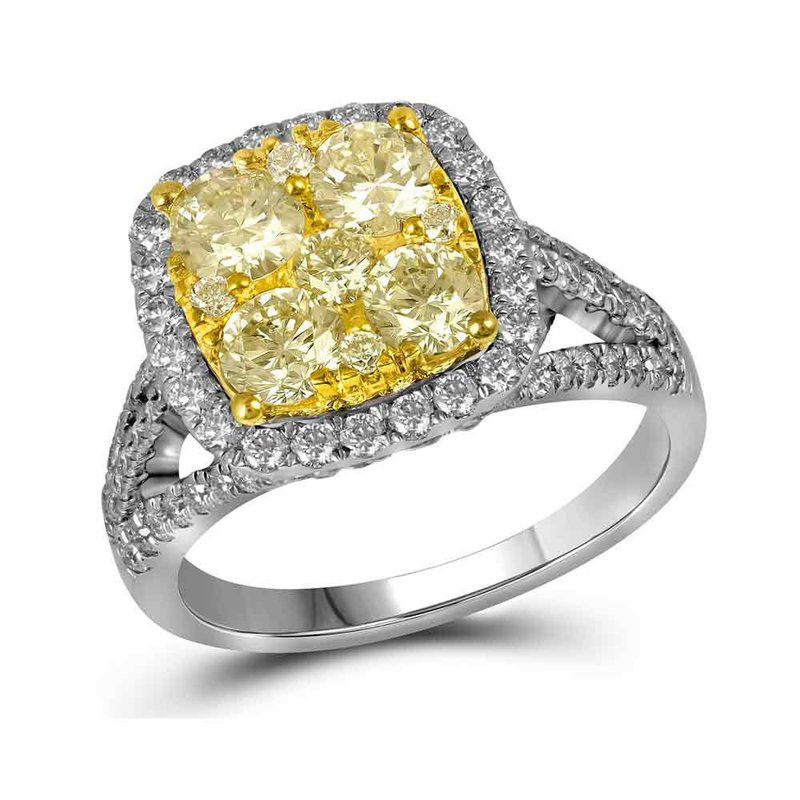 Gold-N-Diamonds, Inc. (Atlanta) 14kt White Gold Womens Round Yellow Diamond Cluster Bridal Wedding Engagement Ring 2-1/5 Cttw