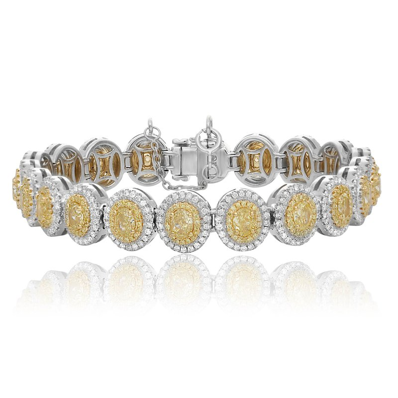 Roman & Jules Two Tone Double Halo Diamond Bracelet