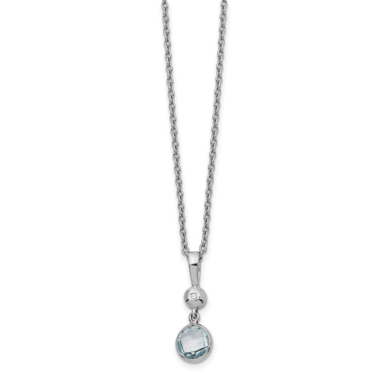 Quality Gold SS White Ice Blue Topaz and Diamond Necklace