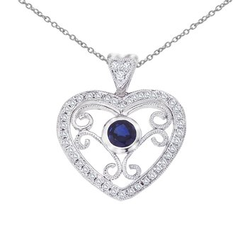 14k White Gold Heart Shaped Filigree Sapphire and Diamond Pendant