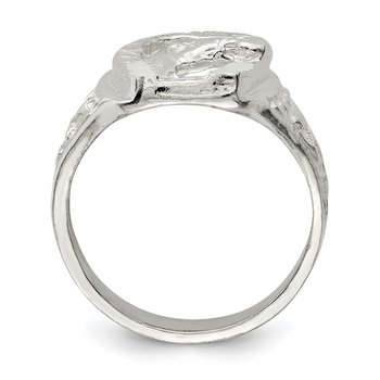 Sterling Silver Horseshoe with Horse Head Ring