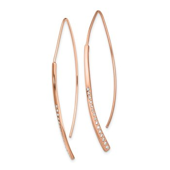 Sterling Silver Rose Gold-plated CZ Threader Earrings