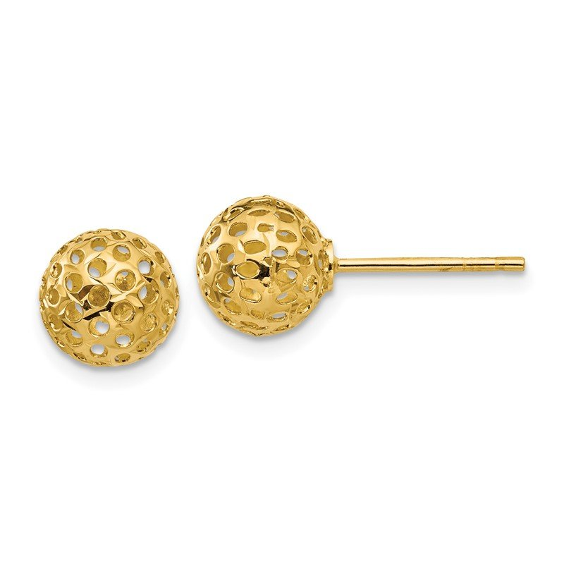 Quality Gold 14k Diamond Cut Bead Post Earrings