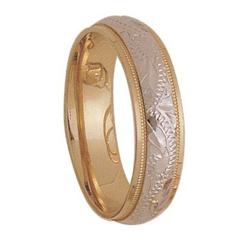 6mm 3T92 Mens Two Tone Wedding Band