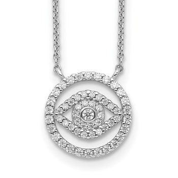 Sterling Silver Rhodium Plated CZ Evil Eye Necklace w/2in ext.