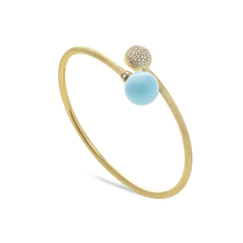 Marco Bicego Africa Turquoise Yellow Gold with Diamond Pave Hugging Bangle