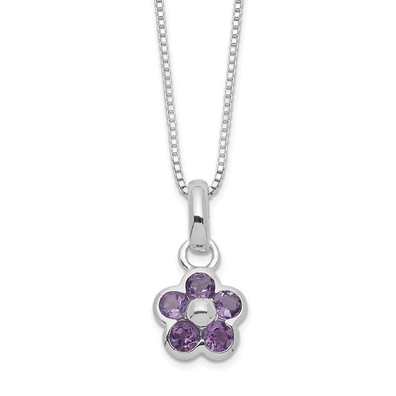 Quality Gold Sterling Silver Amethyst Flower Pendant Necklace