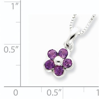 Sterling Silver Amethyst Flower Pendant Necklace
