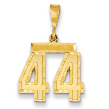 14k Medium Diamond-cut Number 44 Charm
