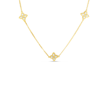 18K GOLD & DIAMOND 3 STATION FLOWER NECKLACE