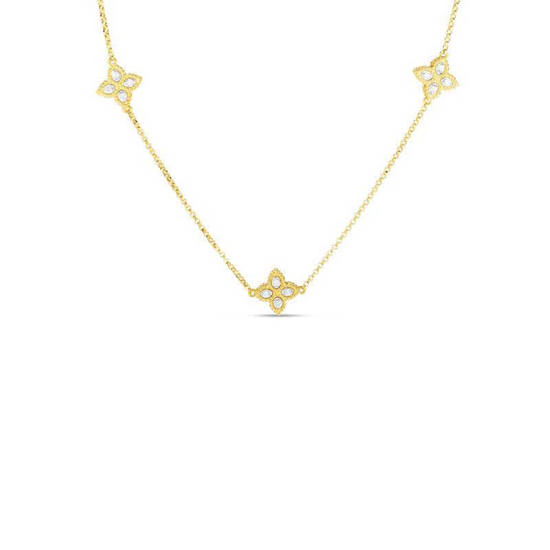 Roberto Coin 18K Gold & Diamond 3 Station Flower Necklace