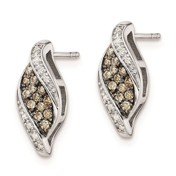 Sterling Silver Rhodium-plated Champagne Diamond Marquise Post Earrings