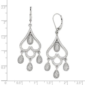 Sterling Silver & CZ Brilliant Embers Heart w/Teardrop Leverback Earrings