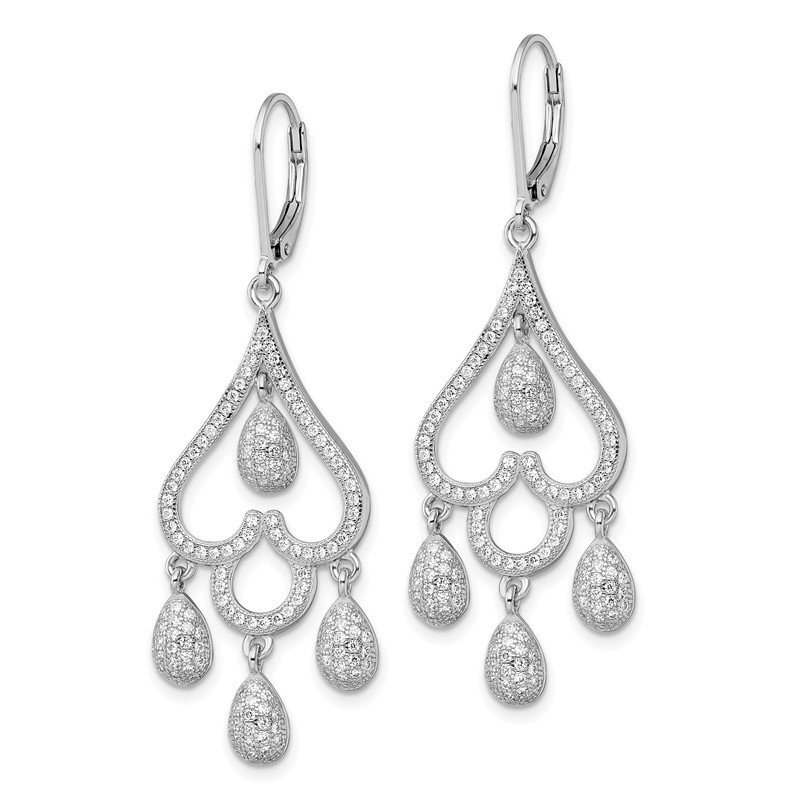 Arizona Diamond Center Collection SS RH CZ Brilliant Embers Heart w/Teardrop Leverback Earrings
