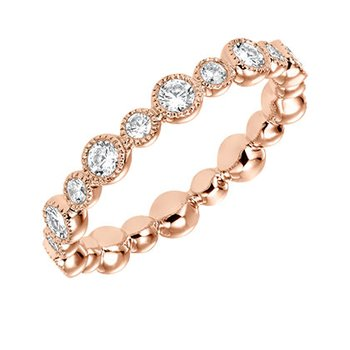 14K Rose Gold Bezel Eternity Wedding Band