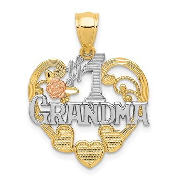 14k Two-tone w/White Rhodium #1 GRANDMA Heart Pendant