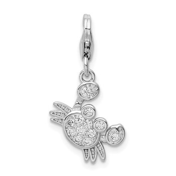 Sterling Silver Rhodium-plated CZ Crab w/Lobster Clasp Charm