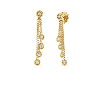 18Kt Gold Drop Earrings With Diamond Stations