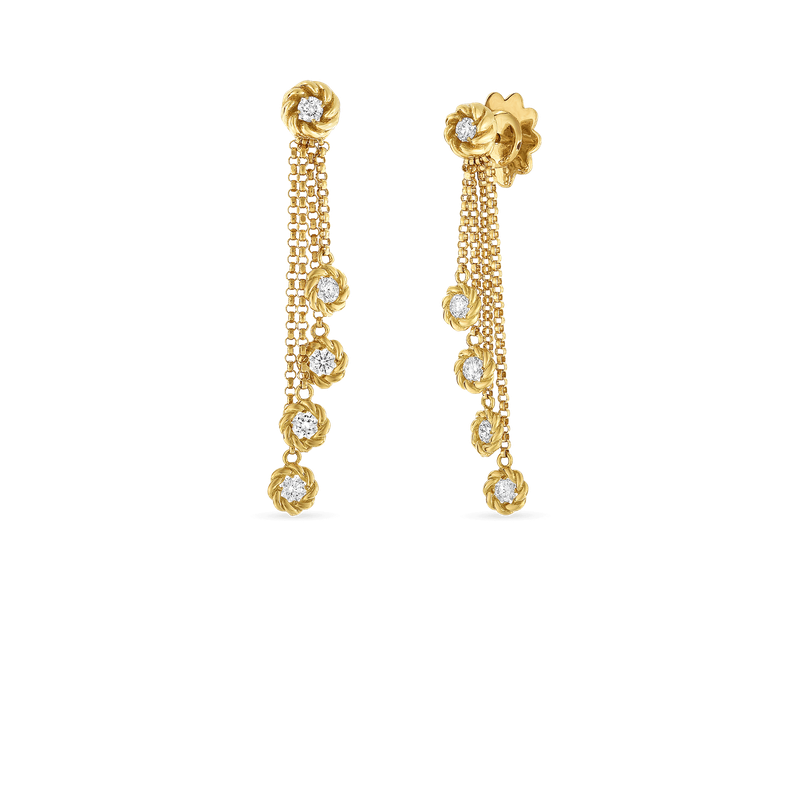 Roberto Coin 18Kt Gold Drop Earrings With Diamond Stations