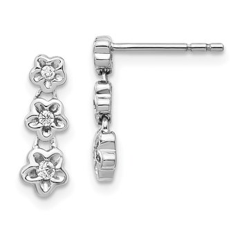 14k White Gold Diamond 3-flower Post Earrings
