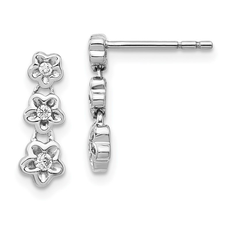 Quality Gold 14k White Gold Diamond 3-flower Post Earrings