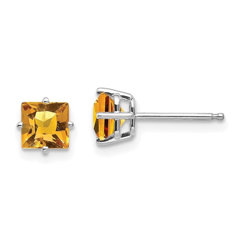 Quality Gold 14k White Gold 5mm Princess Cut Citrine Earrings