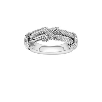 Sterling Silver .04ct. Dia Italian Cable Ring