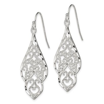 Sterling Silver Diamond Cut Filigree Dangle Earrings
