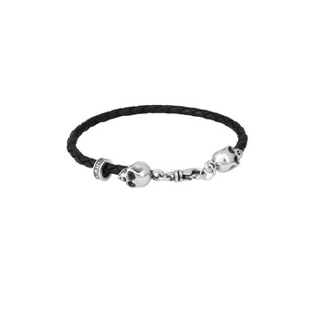 Thin Braided Leather Skull Bracelt