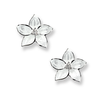 Sterling Silver Stephanotis Floral Stud Earrings-White. Diamond.