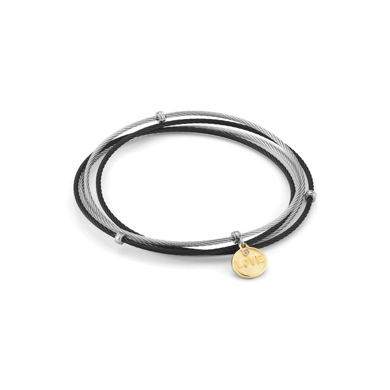 ALOR Black & Grey Cable Love Affirmation Bangle With Diamond Accent