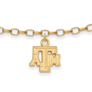 Gold-Plated Sterling Silver Texas A&M University NCAA Bracelet