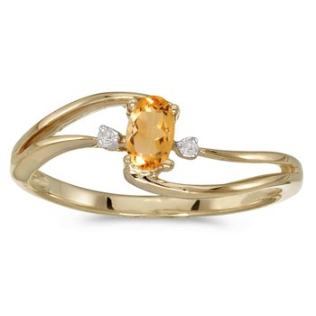 10k Yellow Gold Oval Citrine And Diamond Wave Ring