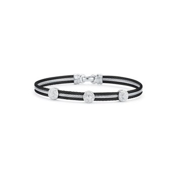 Black & Grey Cable Classic Stackable Bracelet with Triple Round Station set in 18kt White Gold