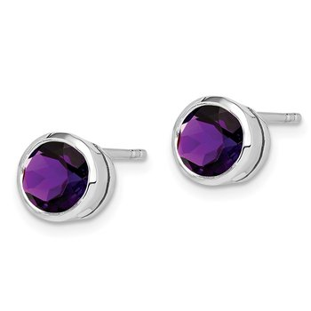 Sterling Silver Rhodium-plated Amethyst Post Earrings