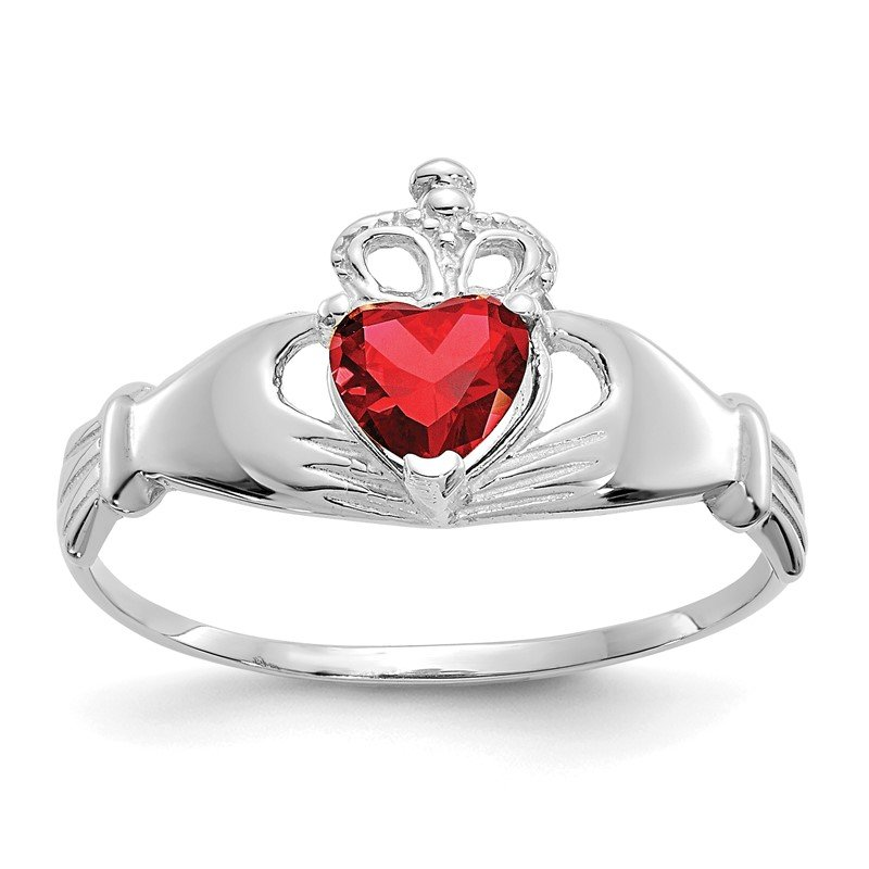 Quality Gold 14k White Gold CZ January Birthstone Claddagh Heart Ring